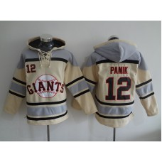 2016 MLB San Francisco Giants 12 Panik cream Lace Up Pullover Hooded Sweatshirt