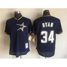 2017 MLB Houston Astros 34 Nolan Ryan Blue Throwback Jerseys