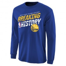 2016 NBA Golden State Warriors Breaking History Long Sleeve T-Shirt - Royal