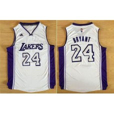 2016 NBA Los Angeles Lakers 24 Kobe Bryant white jerseys