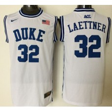 2016 NBA NCAA Duke Blue Devils 32 Laettner White Jerseys