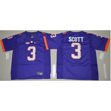 2016 NCAA Clemson Tigers 3 Artavis Scott Purple College Football Limited Jersey