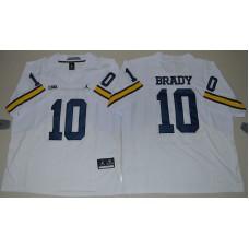 2016 NCAA Jordan Brand Michigan Wolverines 10 Tom Brady White College Football Elite Jersey