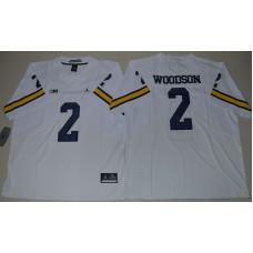 2016 NCAA Jordan Brand Michigan Wolverines 2 Charles Woodson White College Football Elite Jersey