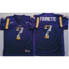 2016 NCAA LSU Tigers 7 Fournette Purple Fashion Edition Jerseys