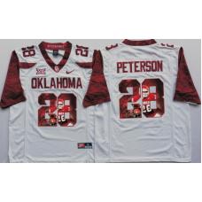 2016 NCAA Oklahoma Sooners 28 Peterson White Limited Fashion Edition Jerseys