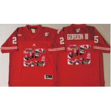 2016 NCAA Wisconsin Badgers 25 Gordon iii Red Fashion Edition Jerseys