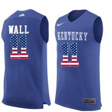 2016 US Flag Fashion  Men Kentucky Wildcats John Wall 11 College Basketball Jersey  Royal Blue