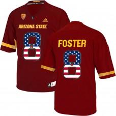 2016 US Flag Fashion Men Arizona State Sun Devils D.J. Foster 8 College Football Jersey  Maroon