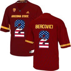 2016 US Flag Fashion Men Arizona State Sun Devils Mike Bercovici 2 College Football Jersey  Maroon