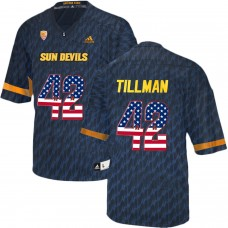 2016 US Flag Fashion Men Arizona State Sun Devils Pat Tillman 42 College Football Jersey  Black