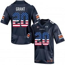 2016 US Flag Fashion Men Under Armour Corey Grant 20 Auburn Tigers College Football Jersey  Navy Blue