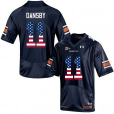 2016 US Flag Fashion Men Under Armour Karlos Dansby 11 Auburn Tigers College Football Jersey  Navy Blue