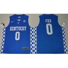 2017 Kentucky Wildcats De'Aaron Fox 0 College Basketball Hype Elitel Blue Jersey