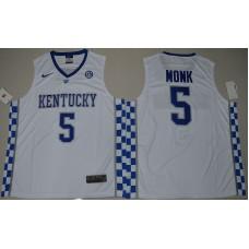 2017 Kentucky Wildcats Malik Monk 5 College Basketball Hype Elite White Jersey