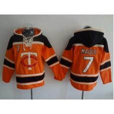 2016 MLB Minnesota Twins 7 Mauer orange Lace Up Pullover Hooded Sweatshirt