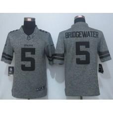 2016 New Nike Minnesota Vikings 5 Bridgewater Gray Men's Stitched Gridiron Gray Limited Jersey