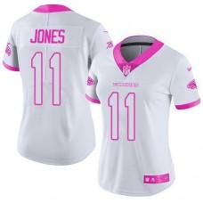 2016 Nike  Atlanta Falcons 11 Julio Jones White Pink Women Stitched NFL Limited Rush Fashion Jersey