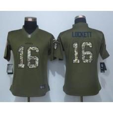 2016 Women New Nike Seattle Seahawks 16 Lockett Green Salute To Service Limited Jersey