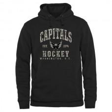 2016 NHL Mens Washington Capitals Black Camo Stack Pullover Hoodie