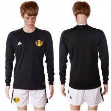 2016 Europe Belgium black goalkeeper long sleeves soccer jerseys