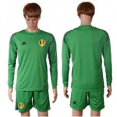 2016 Europe Belgium green goalkeeper long sleeves soccer jerseys