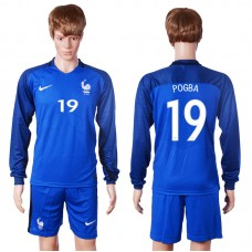 2016 European Cup France home long sleeve 19 Pogba Blue Soccer Jersey