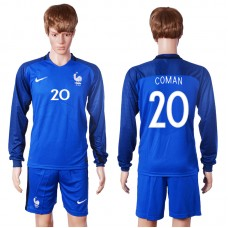 2016 European Cup France home long sleeve 20 Coman Blue Soccer Jersey
