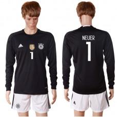 2016 European Cup Germany black goalkeeper long sleeves 1 NEUER Soccer Jersey