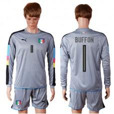 2016 European Cup Italy grayness goalkeeper long sleeves 1 BUFFON Grey Soccer Jersey