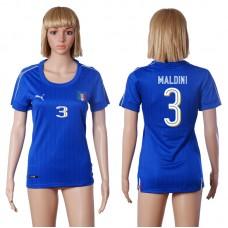 2016 European Cup Italy home 3 MALDINI Blue Women soccer jerseys