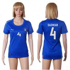 2016 European Cup Italy home 4 DARMIAN Blue Women soccer jerseys