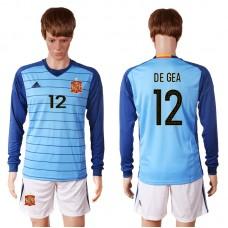 2016 European Cup Spain blue goalkeeper long sleeves 12 DE GEA Soccer Jersey
