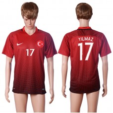 2016 European Cup Turkey home 17 YILMAZ Red AAA+ Soccer Jersey