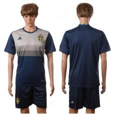 European Cup 2016 Sweden away blank blue soccer jerseys