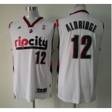 Adidas NBA Portland Trail Blazers 12 Lamarcus Aldridge Pride Fashion New Revolution 30 Swingman Rip City White Jersey
