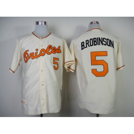 Baltimore Orioles #5 Brobinson Cream Baseball Jerseys Cool base Jersey