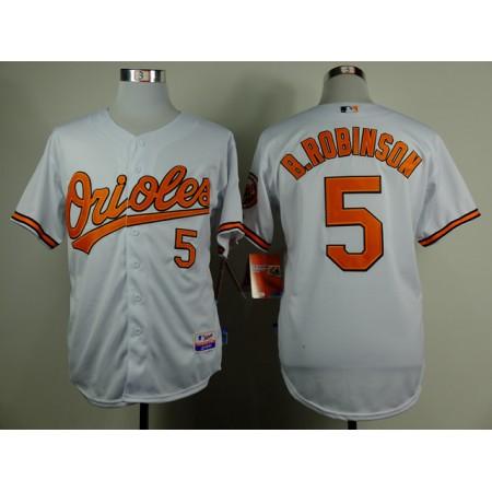 MLB Baltimore Orioles 5 Brooks Robinson White Throwback Jerseys